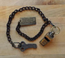 Alcatraz Island Prison Guard Iron Cell Key, Tag & Solid Brass Whistle