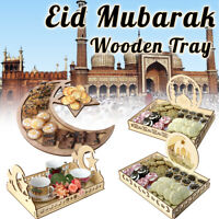 Islam Muslim Wooden Eid Mubarak Ramadan Moon Party Serving Dessert Pastry Tray