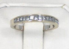 14k Solid White Gold Princess Diamond Wedding or Anniversary Band Ring ~ Size 6