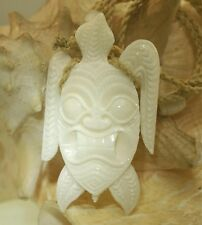 36MM MASTER HAND CARVED HAWAIIAN TRIBAL HONU TURTLE TIKI BUFFALO BONE PENDANT