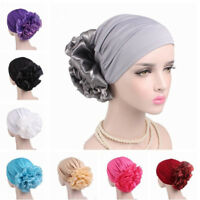 Big Flower Muslim Cancer Chemo Hat Cover Women's Hair Loss Head Scarf Turban Cap