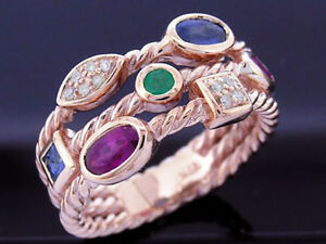 R212 Genuine 9K, 10K, 18K Gold Natural Ruby,Emerald, Sapphire & Diamond Ring