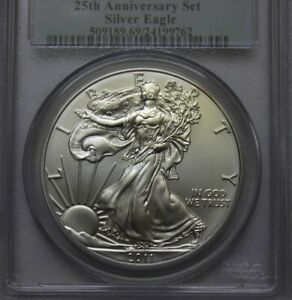 2011-S SILVER EAGLE 25TH ANNIVERSARY SET FIRST STRIKE PCGS MS69 ** RARE
