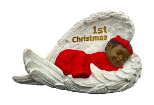 """First Christmas Baby Girl In Angel Wing African American NEW (19174) 3.5""""x6"""""""