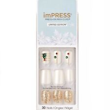 NEW Kiss Nails Impress Press On Manicure Short Gel Pearl White Tree Christmas