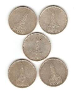 5x5 Reichs Mark 1934, 4xA+1xJ = 5x Silber