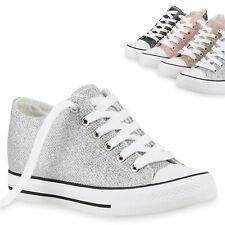 895001 Damen Sneaker-Wedges Glitzer Keil Absatz Sneakers Schuhe Trendy