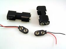 2 x AA (UM-3) Battery Holder & 50mm PP3 Clip Red/Black wires 2 pieces OM0523E