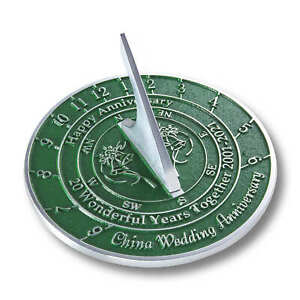 20th China 2021 Wedding Anniversary Sundial Gift By The Metal Foundry