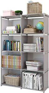 4 Tier 8 Cube Shelf Bookcase Bookshelf Storage Shelves Unit Organizer Stand DIY