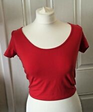 Ladies New Look Red Stretch Short Sleeve Crop Top Size 10 B1