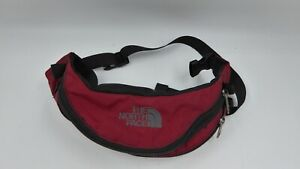 The North Face Fanny Pack Waist Pack Hiking Bag Red Double Zip Embroidered Logo