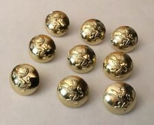 9 X 25mm Gaunt London Gold Gilt Metal Lion Rampant Buttons Military Livery