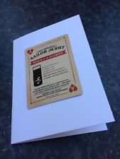Sailor Jerry Vintage Playing Card Greetings Card Ace of Hearts Cocktail Recipe