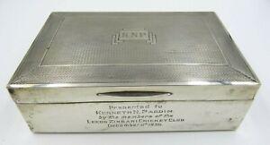 Vintage Sterling Silver Cigarette Box, 1936, Leeds Zingari Cricket Club Interest