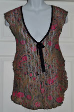 Cinema Etoile Sheer Lacey Chemise Nightgown Sleepwear Sz S