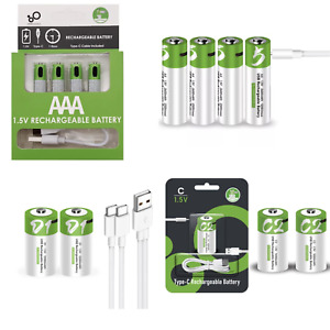 Rechargeable usb Battery 1.5V 4 x AA AAA, 2 x LR14 LR20 C and D Size Batteries