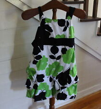 My Michelle Black And Lime Green Floral Bubble Dress Girls Size 12