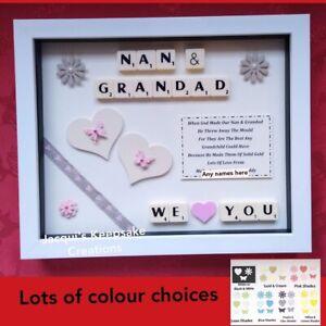 NAN GRANDAD PERSONALISED Frame Gift Picture GRANDPARENT Scrabble CHRISTMAS BIRTH