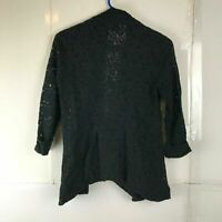 Wet Seal Womens Black Floral Lace Cardigan Small