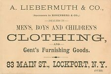 Victorian Tradecard, A. Liebermuth, Clothing, 83 Main Street, Lockport Ny 1887