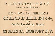 Victorian Tradecard, A. Liebermuth, Clothing, 83 Main Street, Lockport NY 1887