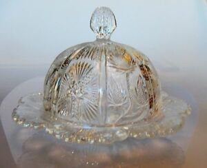 EAPG Pattern J.B. Higbee THISTLE Butter Dish by L.G. Wright 1960s