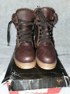 Brown Ankle Child's Flat Boots With Fur Trim & Buckle Detail Size 36 uk3