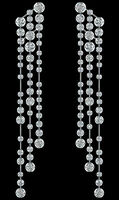 Solid 925 Sterling Silver Beautiful Round Bezel Long Dangle Party Earring New CZ