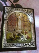 Our Lady of Fatima -  Italian Standing Plaque - 2 x 2.5 inches