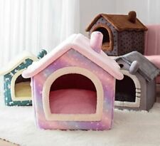 Warm Pet Dog Cat House Beds Kennel Indoor Raised Tent Cushion Mat Chimney House