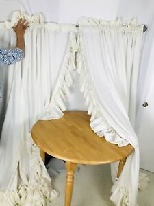 2 Vintage Priscilla Ruffle Lace Curtains Tiebacks Ivory Cream Croscill 75 x 84