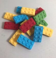 96 Edible Sugarpaste Lego Bricks ( LARGE ) Cupcake/BirthdayToppers- BOYS