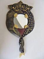 """Cats Kitten Handheld Vanity Mirror Wall Hanging Wooden Wood Handcrafted 15"""""""