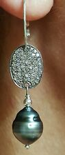 Gray black baroque Tahitian pearl Diamond tag earrings 925 silver