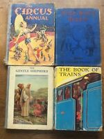 4 Vintage Childrens Annuals Circus Annual Book of Trains Wide World Reader etc