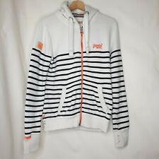 Superdry White Blue Stripe Zip Up Hoodie Track Jacket Size Small