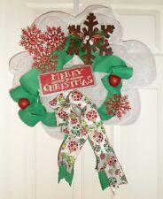 """White Snowflake Poly Mesh Wreath 22"""""""