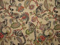 "Madagascan Lemur ""Animal Tapestry"" Designer Fabric Upholstery Curtains Cushions"