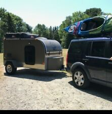 teardrop off road trailer camper with roof rack tent and kitchen