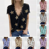 Women's Short Sleeve Shirts Blouse Ladies Ruffle V Neck Tops T-Shirts