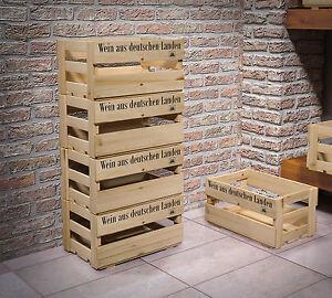 3er Set Weinkisten aus Holz Holzkiste Dekokiste Allzweckkiste Weinregal Holzbox