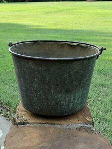 Vintage Antique Hiram W. Hayden Large Brass Bucket Pail Kettle Pot Iron Handle