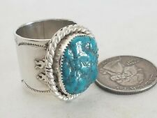 "3/4"" Flame Band Ring Size 10 New 23.1g Sterling Silver Real Bisbee Turquoise"