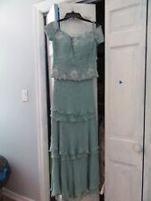 Montage by Mon Cheri Womens Rhinestone/Beaded Powder Blue Gown Size 8