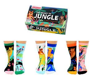UNITED ODDSOCKS GET READY TO JUNGLE SIX ODD SOCKS FOR BOYS UK SIZE 12 -5.5