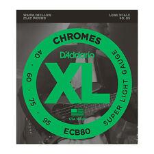 D'Addario ECB80 XL Chromes FlatWound Bass Guitar Strings long scale gauges 40-95