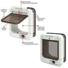 Microchip Pets Door Large Cat Flap Small Dog White Micro Chip Tunnel 4-Way Lock