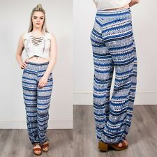 WOMENS 90S TROUSERS BLUE & WHITE AZTEC PANTS PATTERN STRIPED VINTAGE WIDE LEG 10
