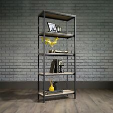 Industrial Style Shelving 5 Tier Bookcase Display Black Metal Frame Sonoma Oak